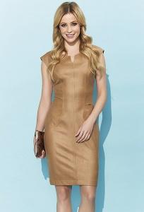 Коричневое кожаное платье-футляр Zaps Lamia