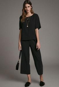 Черные кюлоты - укороченные широкие брюки Emka D172/harvi