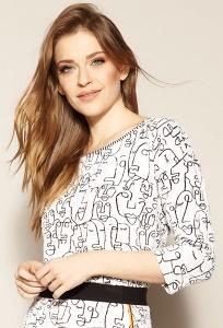 Трикотажная блуза молочного цвета с принтом Zaps Lavin
