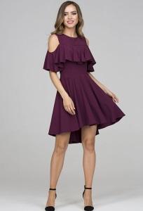 Платье с воланом цвета сангрия Donna Saggia DSP-322-87