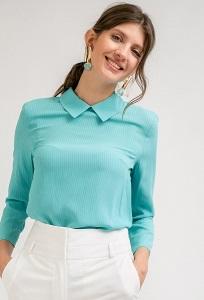 Блузка лазурного цвета в полоску Emka B2414/sarana