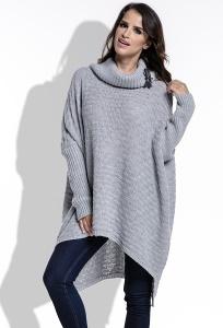 Длинный женский свитер oversize серого цвета Fimfi I213