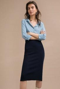 Темно-синяя трикотажная юбка-карандаш Emka S867/cataleya