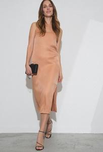 Тёмно-бежевое прямое платье Emka PL1161/bondy