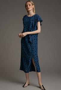 Платье синего цвета в горох Emka PL1036/pasta