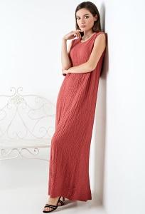Длинное летнее платье терракотового цвета TopDesign A20 048