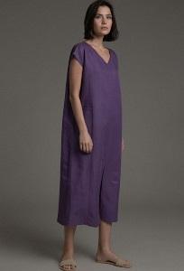Платье прямого кроя с V-образным вырезом Emka PL1041/larch