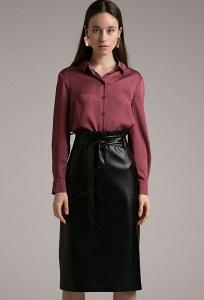 Чёрная кожаная юбка Emka S930/unit