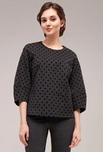 Серая женская блузка в черный горох TopDesign B7 052