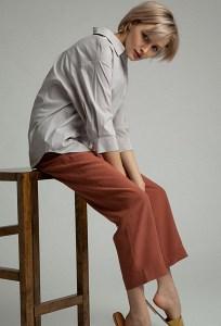 Укороченные брюки терракотового цвета Emka D184/water