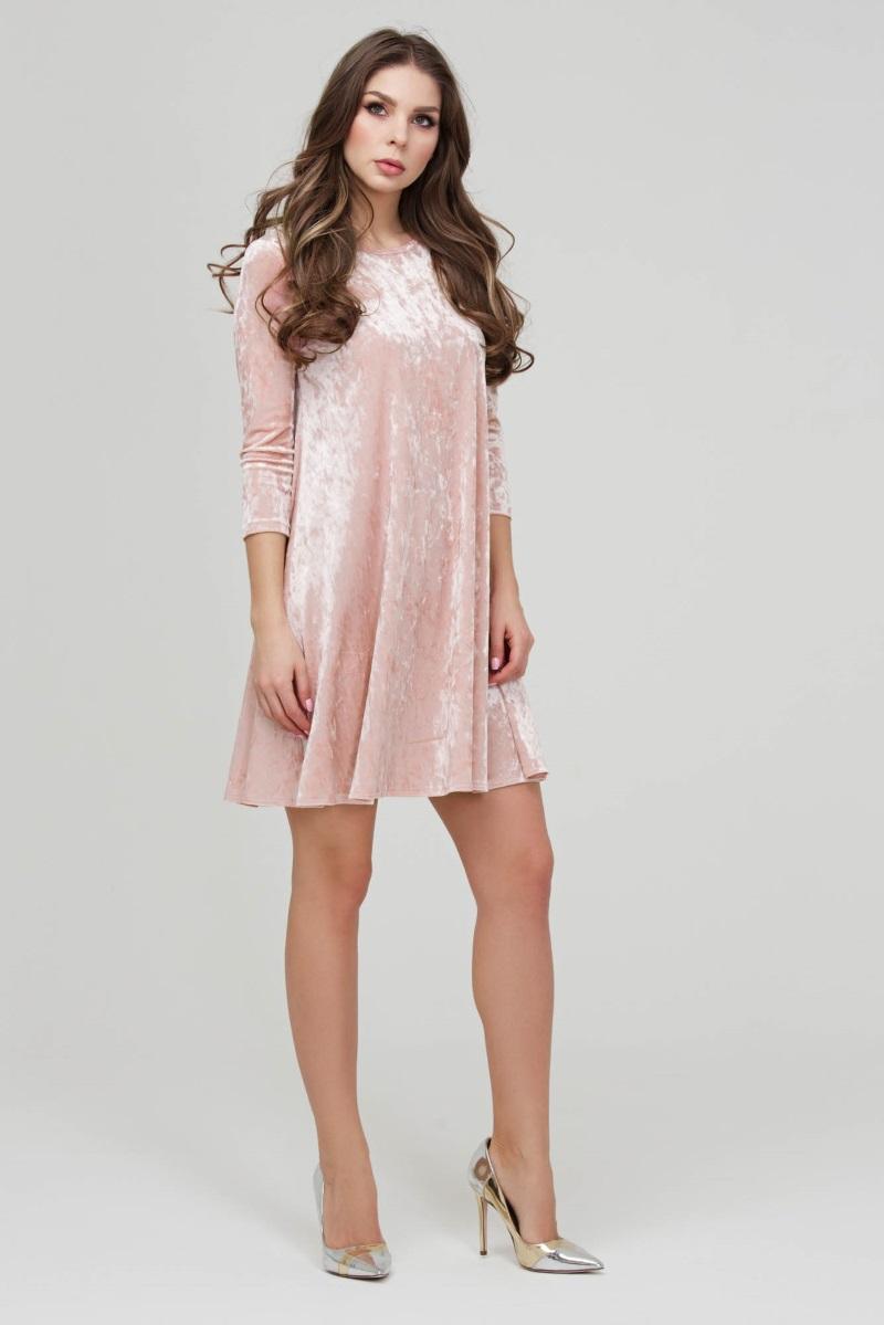 3b26ff18b08 Коктейльное платье из розового бархата Donna Saggia DSP-271-80t. Увеличить