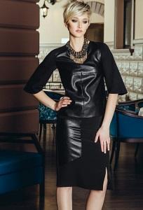 Чёрная юбка с кожаной вставкой Flaibach 062W6