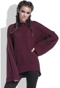 Бордовый свитер oversize Fobya F423