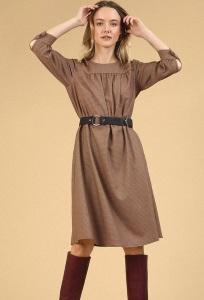 Платье-миди с узором гусиная лапка Emka PL847/vise