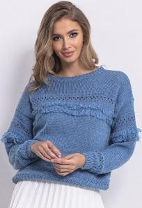 Лёгкий свитер синего цвета Fobya F745