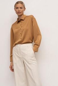 Прямые однотонные брюки молочного цвета Emka D189/dolly