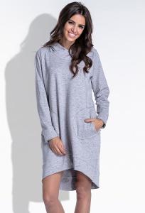 Повседневное платье серого цвета с капюшоном Fobya F433