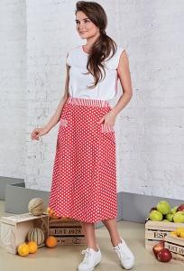 Летняя юбка из хлопка в горох TopDesign A8 085
