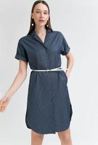 Платье с ремнем темно-синего цвета Emka PL770/mitina
