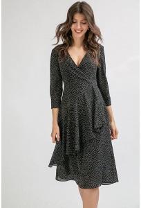 Черное платье-миди в горох А-силуэта Emka PL868/loredana