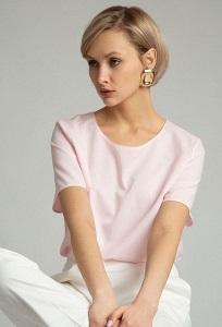 Розовая блуза спортивного кроя Emka В2559/blanc