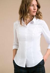 Женская белая полуприлегающая рубашка Emka B2208/vonda