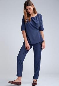 Однотонные синие брюки с защипами Emka D142/vidavi