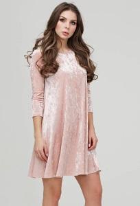 Коктейльное платье из розового бархата Donna Saggia DSP-271-80t