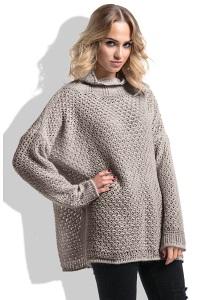 Теплый свитер свободного кроя серого цвета Fimfi I229