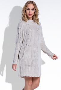 Тёплое вязаное платье бежевого цвета Fimfi I194