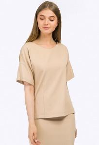 Блузка прямого силуэта бежевого оттенка Emka B2306/sansara