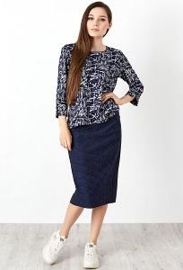 Синяя юбка в белый горошек TopDesign B20 046
