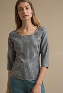 Серая блузка в полоску Emka B2422/grinda