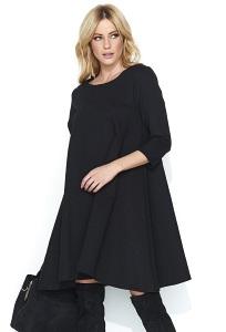 Чёрное широкое платье Makadamia M452