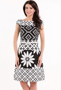 Стильное чёрно-белое платье Remix 7298