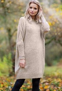Бежевое шерстяное платье Fobya F597