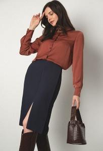 Тёмно-синяя юбка Emka S877/french (коллекция 2020)