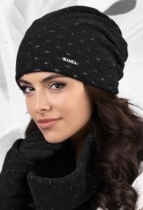 Комплект шапка и снуд чёрного цвета Kamea Argenta