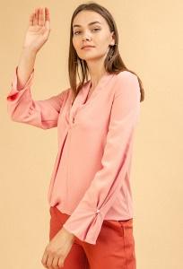 Блузка кораллового цвета с драпировкой Emka B2380/tennessee