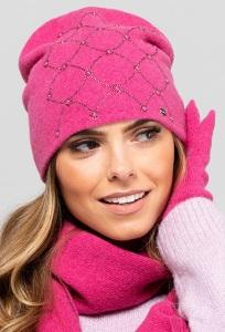 Женская шапка малинового цвета Kamea Galicja