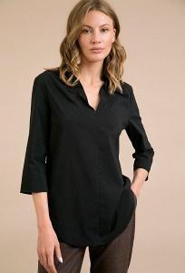 Черная блузка из стрейч-коттона Emka B2333/andjello