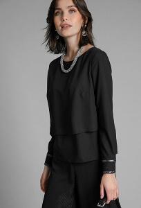 Легкая черная блузка Emka B2461/zofia