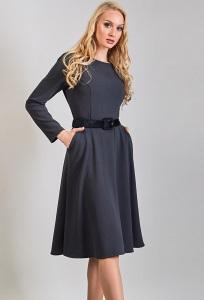 Трикотажное платье серого цвета TopDesign B8 005