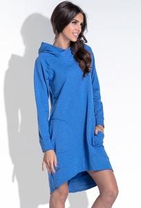 Платье василькового цвета с капюшоном Fobya F433