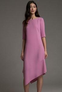 Розовое платье асимметричного кроя Emka PL1034/honey