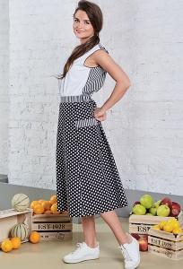 Летняя хлопковая юбка в горох TopDesign A8 085