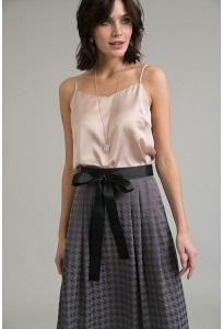 Серая юбка с орнаментом гусиная лапка Emka S522/vishes