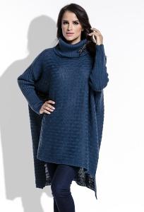 Длинный женский свитер oversize синего цвета Fimfi I213