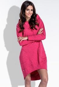 Яркое повседневное платье с капюшоном Fobya F433
