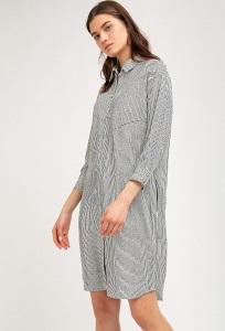 Платье-рубашка в полоску с асимметричным низом Emka PL884/blondi